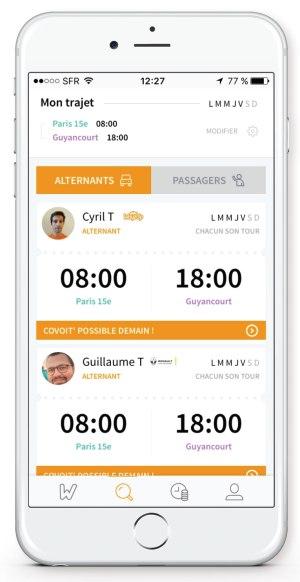 Iphone profil alternant WayzUp covoiturage domicile-travail